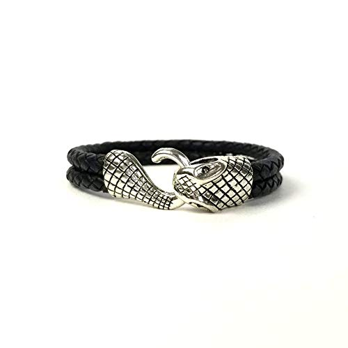 (Ashley & Melissa Black Double Loop Cord Snake Head Bracelet)