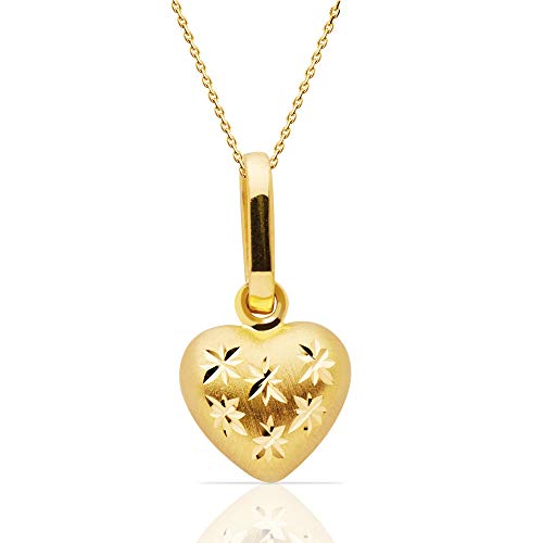 14k Yellow Gold Heart Pendant Necklace, 18