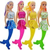 American Pretty little Mermaid Fashion Dolls, 11 in. Color Coordinating Dress, Tail, and Hair Bundle of 4
