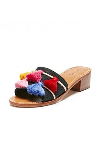 Soludos Women's Open Toe Tassel City Sandal - Black - Multi - 5 by Soludos