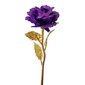 momowu 24K Gold Foil Rose Love Forever Artificial Flowers Best Birthday Valentine`s Day Her,Wife,Mom,Girlfriend Honey (Purple) 20