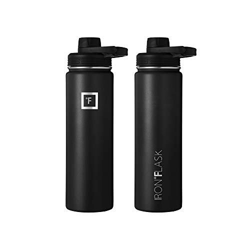 IRON °FLASK Sports Water Bottle - 22 Oz, 3 Lids (Spout Lid), Vacuum Insulated Stainless Steel, Hot Cold, Modern Double Walled, Simple Thermo Mug, Hydro Metal Canteen (Black)