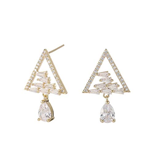 BBL Cubic Zirconia CZ Micro Pave Chic Dainty Triangle Shaped Earrings for Women Girls Hypoallergenic Unique Sparkling Teardrop Drop Dangle Dangling Stud Earrings
