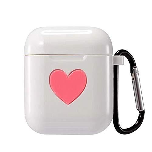 Premium White Silicone Skin Case - Shanglite Premium Silicone Protective Cover Case for Apple AirPods Silicone AirPods Case Cover Skin with Metal Keychain (White)
