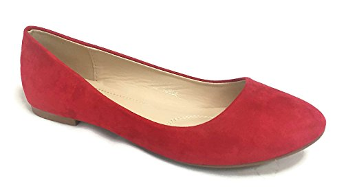 Bella Marie Stacy-12 Damen Runde Zehe Slip On Ballett Flache Schuhe rot