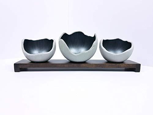 Decorative Concrete Bowl - Gun Metal Gray - Air Plant Holder - Candle Holder - Smudge Bowl