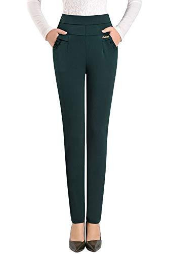 Casual Lavoro Elastico Quotidiano Colore di Solido Verde Forti Alta Vita Scuro Leggings YIHIGH Taglie Donn Pantaloni Ufficio xqR8wS6P
