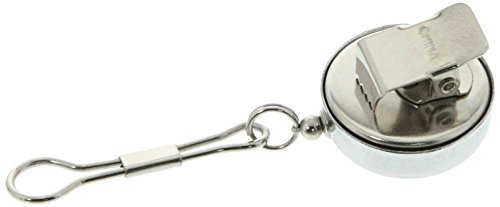 SE - Pull Key Reel - Clip-on, Chrome, Metal Cord, .75in. Dia. - 202JCC by Sona Enterprises