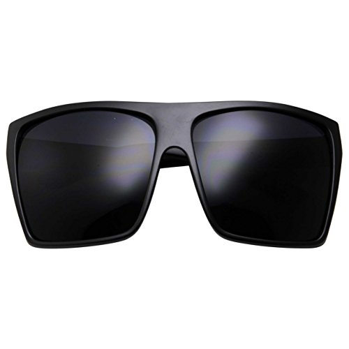 oversized black aviator sunglasses 89f2  All Black Limo Dark Rectangular Flat Top Mob Oversized Sunglasses