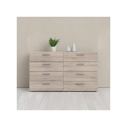 Bedroom Levan Home Contemporary 8 Drawer Double Dresser with Metal Handles in Truffle modern dressers