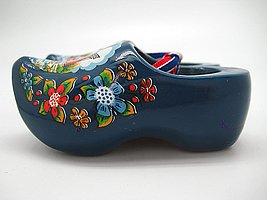 Decorative Wooden Shoe Clogs Dutch Landscape Design Blue (3.25″)