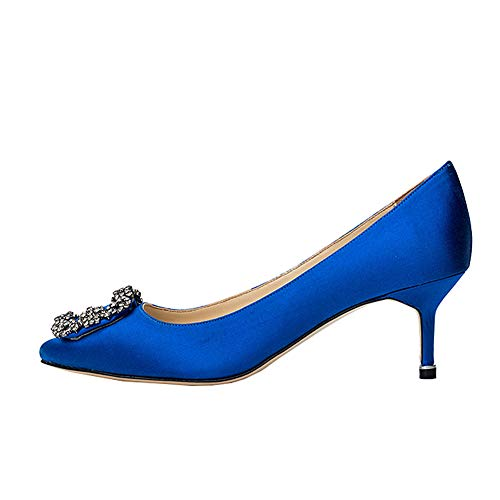 (Amarantos Women's Kitten Heel Pointed Toe Jeweled Buckle Bridal Wedding Satin Pumps Shoes Blue Size 10)