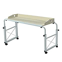 Overbed Table with Wheels, Adjustable Overbed Table Laptop Cart Computer Table, Super Sturdy and Stable Alalaso (Maple)