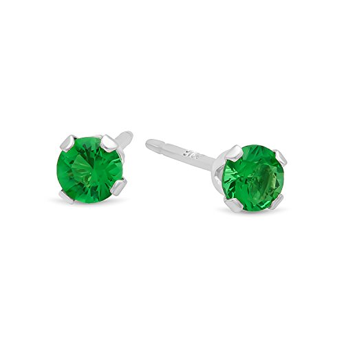 Brilliant Cut Simulated Emerald Green 3mm CZ Sterling Silver Nickel-Free Stud Earrings + Cleaning Cloth