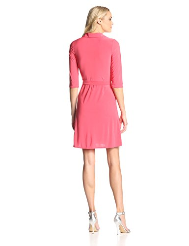Star Vixen Women's 3/4 Sleeve Faux Wrap Dress with Collar, Coral, Large