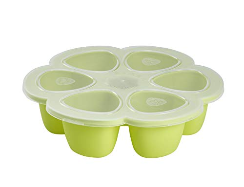 BEABA Silicone Multiportions Baby Food Tray, Oven Safe, Made in Italy, Neon, 5 oz