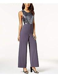 Crepe Jumpsuit with Lead Colour Sequin Bodice