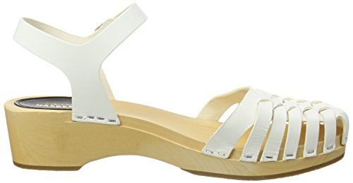 Closed White Women's Hasbeens White Debutant Snake Toe Swedish Sandals wURvIq8