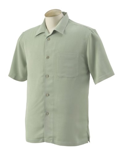 Harriton Men's Bahama Cord Camp Shirt -Green Mist