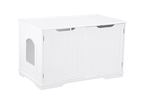 Pet Hup Hup Kitty Litter Box and Accent Table Cat Sounana Bench Comfort Washroom with Night Stand, White by Pet Hup Hup
