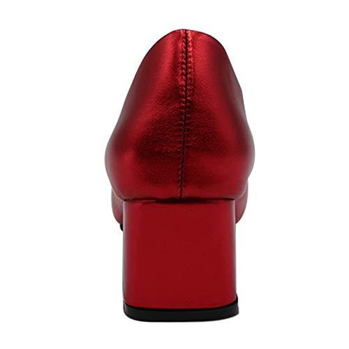 Pelle Comodo Uirend A Col Tacco Uniforme Sera Blocco Rosso Ufficio Formale Lavoro Morbido Business Da Donna Scarpe Punta Aqxzwp1