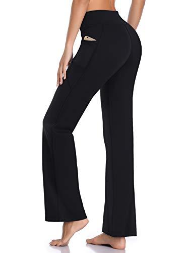 HISKYWIN Side Pockets Yoga Pants 4 Way Stretch Tummy Control Workout Running Pants, Long Bootleg Flare Pants HF201-Black-XL