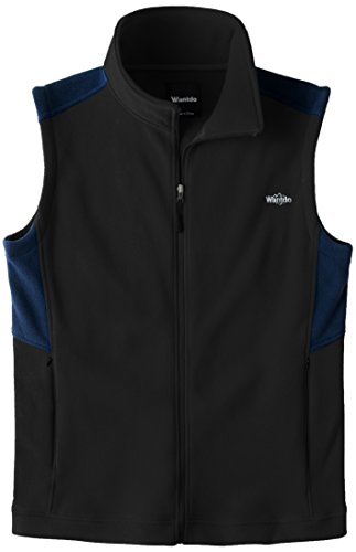 Wantdo Men's Outdoor Full Zipper Fleece Vest Black Navy L (Full Womens Fleece Vest)