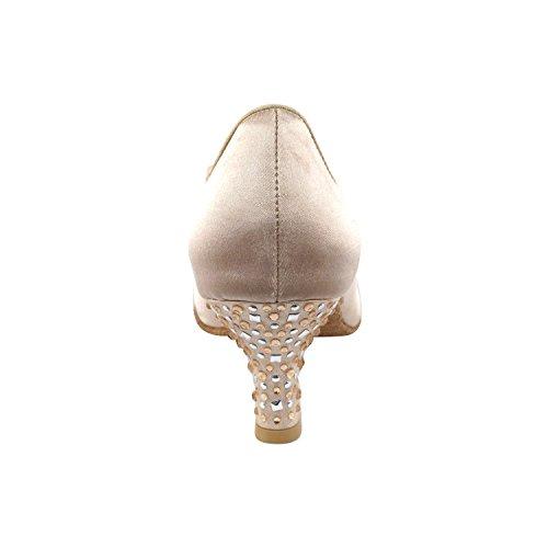 Scarpe Piccione Oro Scarpe Da Festa Festaioli, Pompe Comfort Da Sera: Scarpe Da Ballo Donna Con Tacco Da Ballo 5501- Satin Carne