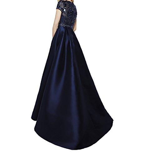 Kurzarm Ballkleider Charmant Dunkel Pailletten A Gruen Festlichkleider Brautmutterkleider Rock Linie Satin Navy Damen Blau Abendkleider xgSFqgI