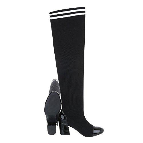 Zapatos para mujer Botas Mini tacón Mosqueteras Ital-Design Negro