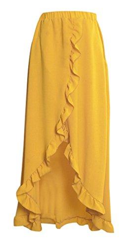 de t Plage Soire Legendaryman Lotus Chic de Feuille t Unie Jaune Jupes Femme Couleur Fashion Maxi C Fendues de avec Gingembre Fte Jupe Irregulier Jupe 7qOWvqUIZ