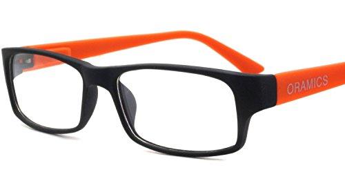 Original Oramics Brille ohne Stärke Modern und elegant im Stylischen Nerd Look in verschiedenen Farbkombinationen. (Schwarz-Orange)