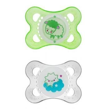 (MAM Glow In The Dark Silicone Pacifiers 0-6 Months Non BPA - (Styles May)