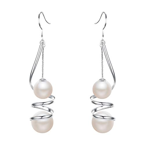 EleQueen Women's Ivory Color Simulated Pearl Long Wire Swirl Spiral Hook Drop Earrings For Wedding or Prom Silver-Tone