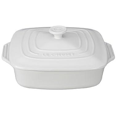 Le Creuset Stoneware Covered Square Casserole, 9.5-Inch, White