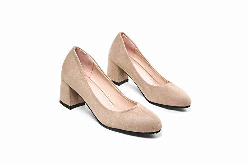 Charm Foot Womens Chunky Mid Heel Business Fashion Pumps Shoes Beige LQ9Pm543i9
