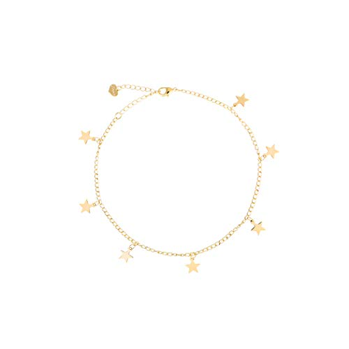 - S.J JEWELRY Fremttly Friendship Gift Handmade Dainty Anklet 14K Gold Filled/Silver Star Lucky Beads Lace Chain Adjustable Foot Chain for Womens-ANK-Star