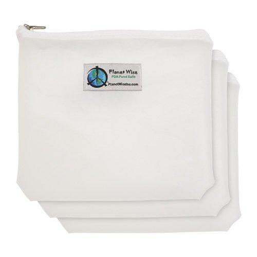 Planet Wise Reusable Clear Bags, Zipper, Sandwich, 3-Pack