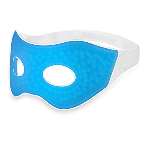 (Plemo Sleep Mask, Comfortable Gel Beads Eye Cover, Cool and Warm Therapy SPA for Swollen Puffy Eyes and Dark Circles (Blue))