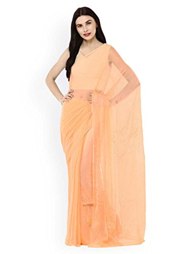 Saree Jaipur coloured Handicrfats Export Indian Geroo Chiffon Pure Mukaish Peach Embellished qXt1pvxa