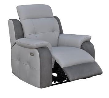 grand choix de 26e06 81033 Fauteuil Relax électrique CARAVELLE Cuir/Croûte cuir Gr/Mic ...