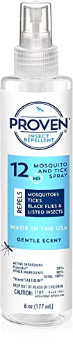 Proven 12 HR Insect Repellent Spray - Gentle Scent 6oz ; Protects Against Mosquitoes, Ticks and Flies; DEET Free, Non-Toxic; Safe for Children; Made in USA