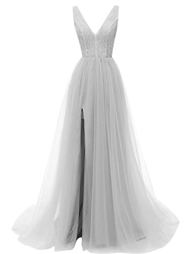 Prom Dresses Deep V Neck Tulle Lace Sex Split Dresses Long Prom Gown Evening Dress -