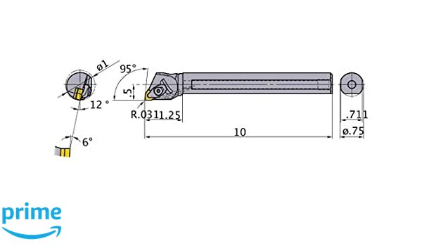 Right 95/° Cutting Angle 0.750 Shank Dia with Coolant 1 Minimum Cutting Dia. Steel Shank Mitsubishi Materials S-DWLNR-123-C Double Clamp Dimple Boring Bar with 0.375 IC Trigon Insert