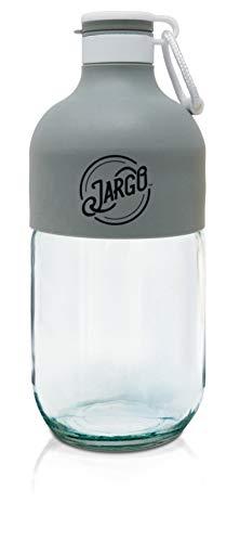 JarGo by Zing Anything, Portable Drinking Glass Bottles, Transform Mason Jar Bottles, Stylish Mason Jar Bottles, Glass Jars, Canteen Style Jars, Carry Loop, Leak-Proof Chug Top, 23 oz., Slate