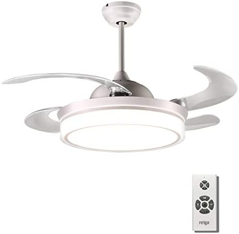 reiga 44-inch White Modern Ceiling Fan Retractable Blades with Dimmable LED Lights, Remote Control, 2 Down-rods Bright White