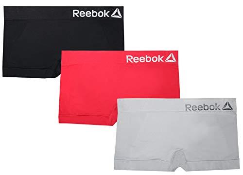 Reebok Womens 3 Pack Seamless Boyshort, Black/Red/Griffen, X-Large