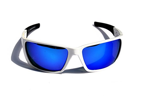Polarized Sports Wrap Around Sunglasses Perfect for Fishing Cycling (White/Blue - White Sunglasses Around Wrap