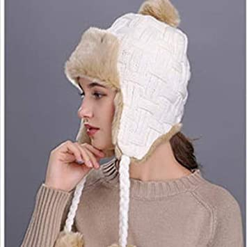Amazon.com  Lessonmart Super Warm Bomber Hats for Women Knitted Hat Thicken  Double Layers Faux Fur Hats H0823  Kitchen   Dining 05743f5e769