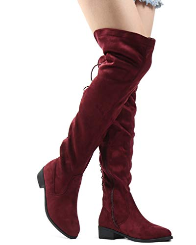 LUSTHAVE Women's Over The Knee Lace Up Flat Boots Tall Western Riding Boots Wine ()